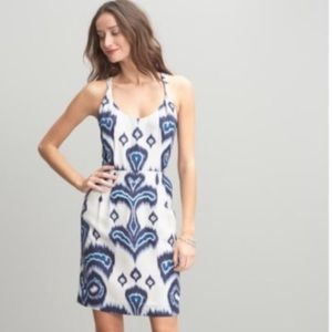 Banana Republic Silk Ikat Sheath Dress Blue White
